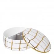 Round Bone China Jewelry Box with Lid, 12.5cm, 355ml - Gold
