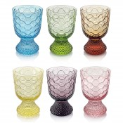 Set/6 Assorted Colours Footed Goblets, 13cm, 300ml