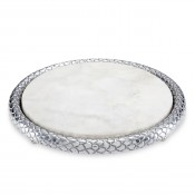 Silver - Round Cheese Tray with Marble Insert, 26.5cm