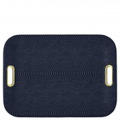 Large Flat Tray with Gold Cut-out Handles, 56x40.5cm - Midnight