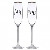 Set/2 Champagne Flutes, 25.5cm, 175ml - Mr. & Mrs.