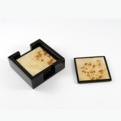 Set/4 Square Coasters with Black Lacquer Edges in a Black Holder, 10cm