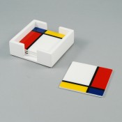 Set/4 Square Coasters with White Holder, 10cm