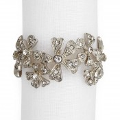 Set/4 Crystal & Platinum Plate Napkin Rings
