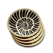 Set/4 Gold Plate Coasters, 10cm