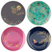 Set/4 Assorted Motifs Cake Plates, 20cm