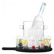 14-Piece Vodka Serving Set & Paddle - Matte Black Beech