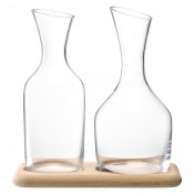 3-Piece Water & Wine Carafe Set with Oak Base - Natural Oak