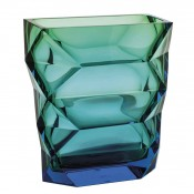 Polygon - Crystal Flower Vase, 26cm - Aquamarine/Green