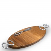 Oval Wood Cheeseboard with Knife and Handles, 57x25.5cm