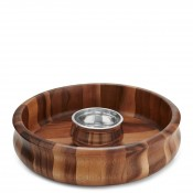 2-Piece Wood & Metal Chip & Dip Serving Set