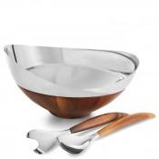 Stainless Steel/Wood Salad Bowl & Salad Servers