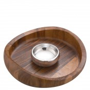2-Piece Wood & Metal Chip & Dip Serving Set - Acacia