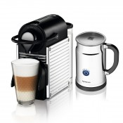 Espresso Maker + Aeroccino Bundle, 700ml - Steel Lines Chrome