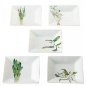 Set/5 Assorted Motifs Square Tidbit Plates, 15cm