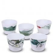 Set/5 Assorted Motifs Japanese Cups/Tumblers, 205ml