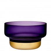 Round Decorative Crystal Bowl, 24cm, 4.1L - Purple/Gold
