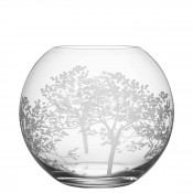 Large Etched Round Crystal Vase/Rose Bowl, 20.5cm