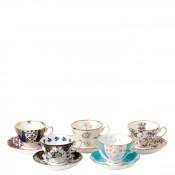 1900-1940 5-Piece Assorted Designs Teacups & Saucers, 200ml