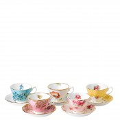 1950-1990 5-Piece Assorted Designs Teacups & Saucers, 200ml