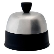Covered Sugar Bowl, 10cm, 280ml - Black Base, Matte Stainless Steel Cover/Cloche