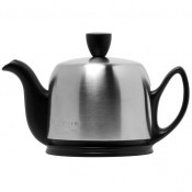 Teapot, 350ml, 2 Cups - Black Base, Matte Stainless Steel Cover/Cloche