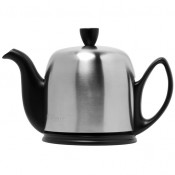 Teapot, 700ml, 4 Cups - Black Base, Matte Stainless Steel Cover/Cloche