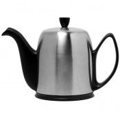 Teapot, 1.5L, 8 Cups - Black Base, Matte Stainless Steel Cover/Cloche