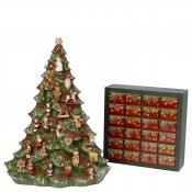 Porcelain Christmas Tree & Wooden Advent Calendar with Porcelain Ornaments