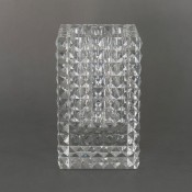 Rectangular Glass Vase with Pyramid Cuts, 20.5cm