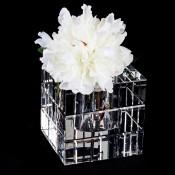 Faceted Grid Glass Vase, 15cm