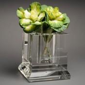 Square Pillar Cube Glass Vase, 18cm
