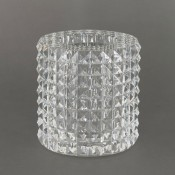 Cylindrical Glass Vase with Diamond Pyramid Cuts, 15.5cm