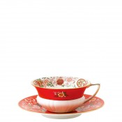 Teacup & Saucer, 145ml - Peony Shape - Crimson Orient