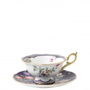 Teacup & Saucer, 145ml - Scalloped Peony Shape - Midnight Crane