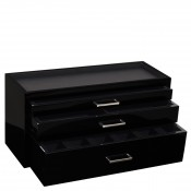 3-Drawer Watch Box, 39.5x16x20.5cm - Black
