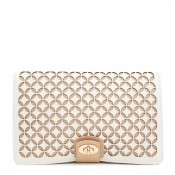 Clutch Leather Jewelry Portfolio Travel Case, 26x17x3cm - Cream