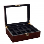 Wood Watch Box holds 10 Watches, 32x24x10cm - Burl Wood