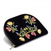 Velvet Jewelry Travel Portfolio/Pouch Case, 26x17cm - Indigo