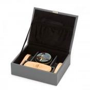 6-Piece Shoe Shine Kit in a Pebble Leather Box, 15x12.5x5cm - Grey