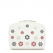 Leather Jewelry Travel Pouch Case, 20.5x15cm - White