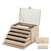 Leather Jewelry Box, 41x26x28cm - Ivory - Extra Large