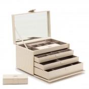 Leather Jewelry Box, 33x21.5x21cm - Ivory - Large