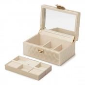 Leather Jewelry Box, 22x15x11cm - Champagne - Small