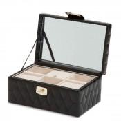 Leather Jewelry Box, 22x15x11cm - Black - Small