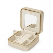 Leather Square Jewelry Zip Travel Case, 11.5cm - Champagne