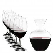6 Magnum Red Wine Glasses, 530ml & Apple Wine Decanter/Carafe, 1.5L