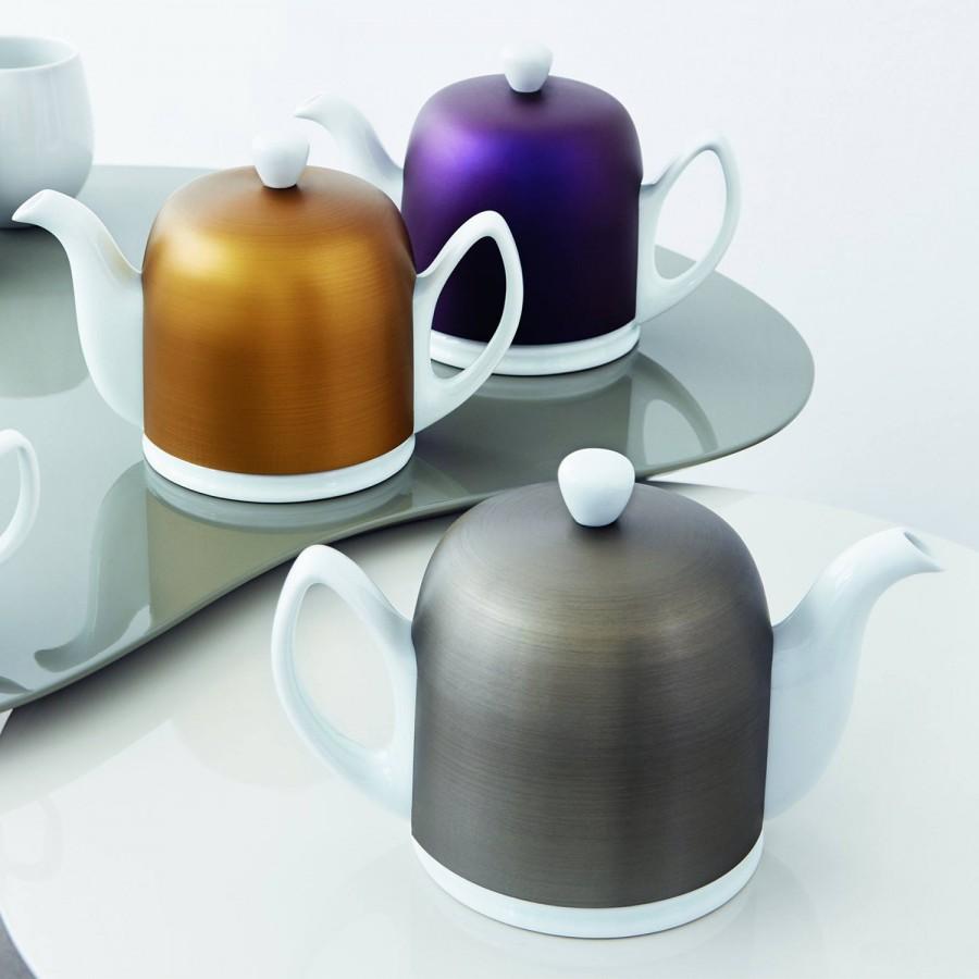 Insulated Teapot 13cm 1l 6 Cups White Base Bronze Cover Cloche William Ashley